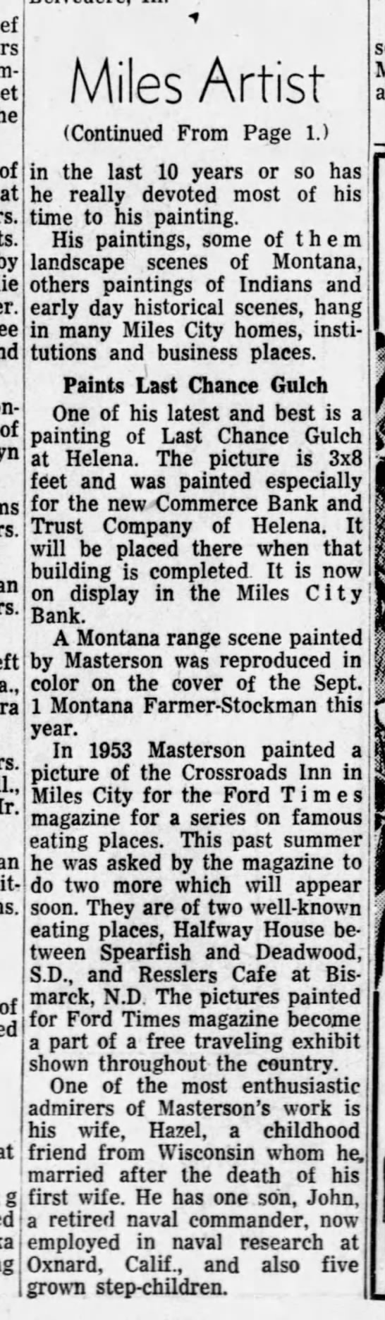 "MASTERSON, James ""Miles Artist) continued from (see below) 2 of 2 -"