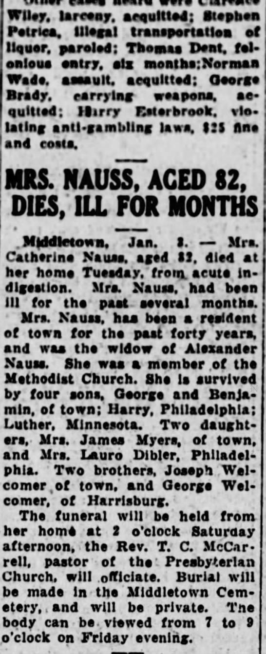 Catherine Welcomer Nauss obit -Jan 1926 -