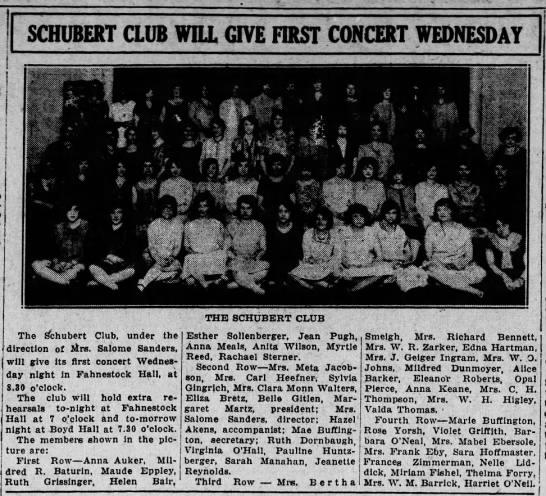1926 Photo of Eliza Bretz in Schubert Club -