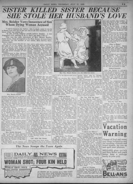 Minnie Reisler murders sister Bertha Katz -