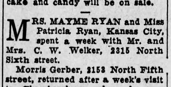 Mayme and Patricia Ryan 1926 - cake and candy will be on sale. MRS. MAYME RYAN...