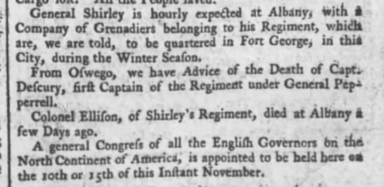 1755 Death of Senior Officers Shirley's Regiment - j General Shirley is hourly expecled at Albany...