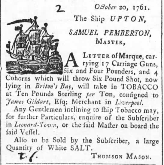 1761 privaeer outfitted with cohorns Annapolis - Offober 20, 1 76 1 . The Ship UPTON, SAMUEL...