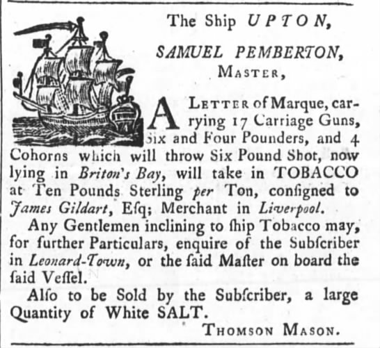 1761 Privateer with 4 cohorns Annapolis - The Ship UPTON, SAMUEL P EMBERTON, . Master, A...