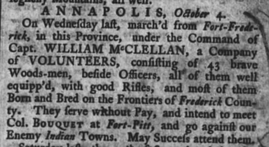 1764 company of riflemen to Fort pitt Annapolis -