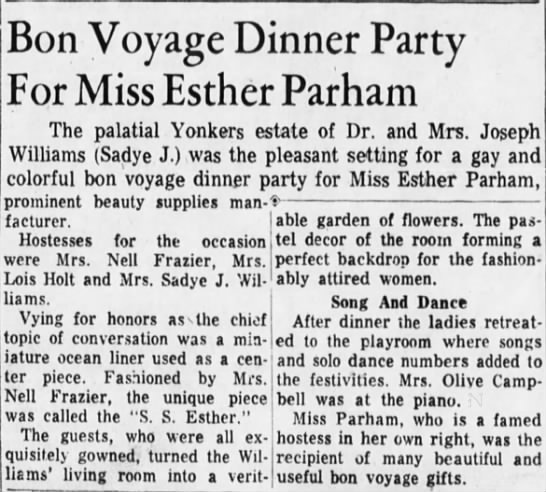Bon Voyage Dinner Party for Miss Esther Parham -