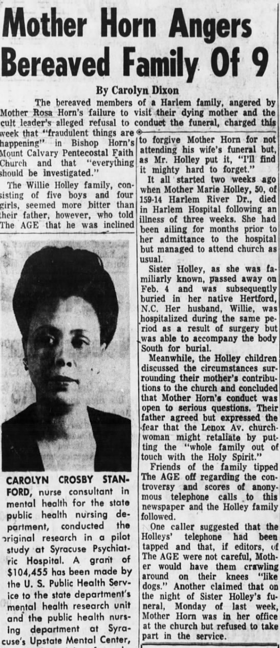 Fear Mother Horn; The New York Age (NYC) 2/20/1960 -