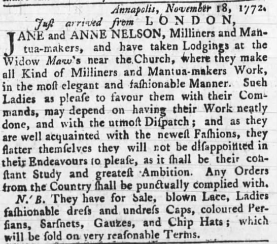 Jane and Anne Nelson The Maryland Gazette Dec 17 1772 -