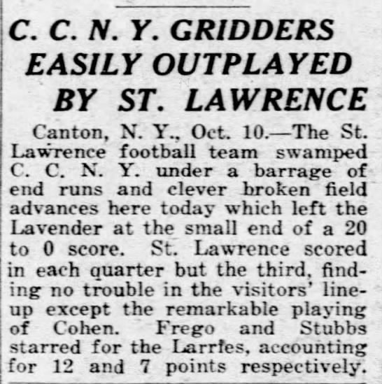 C.C.N.Y. Gridders Easily Outplayed by St. Lawrence -