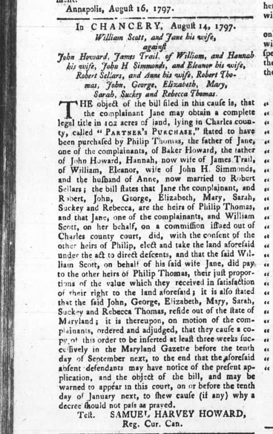 Maryland Gazette 8/31/1797 Children of Philip Thomas