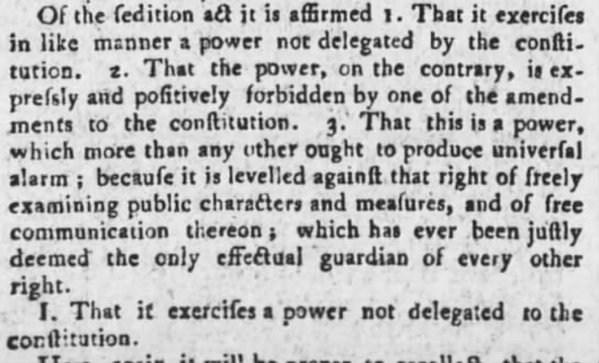 Opposition to Sedition Act Maryland Gazette (Annapolis) July 3, 1800 -