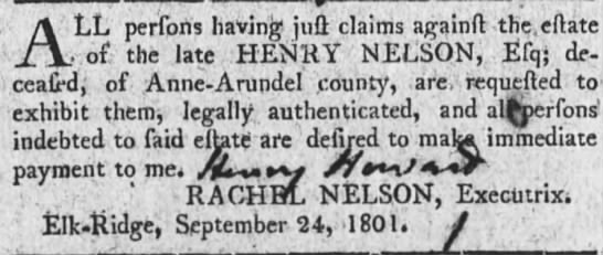 Henry Nelson estate