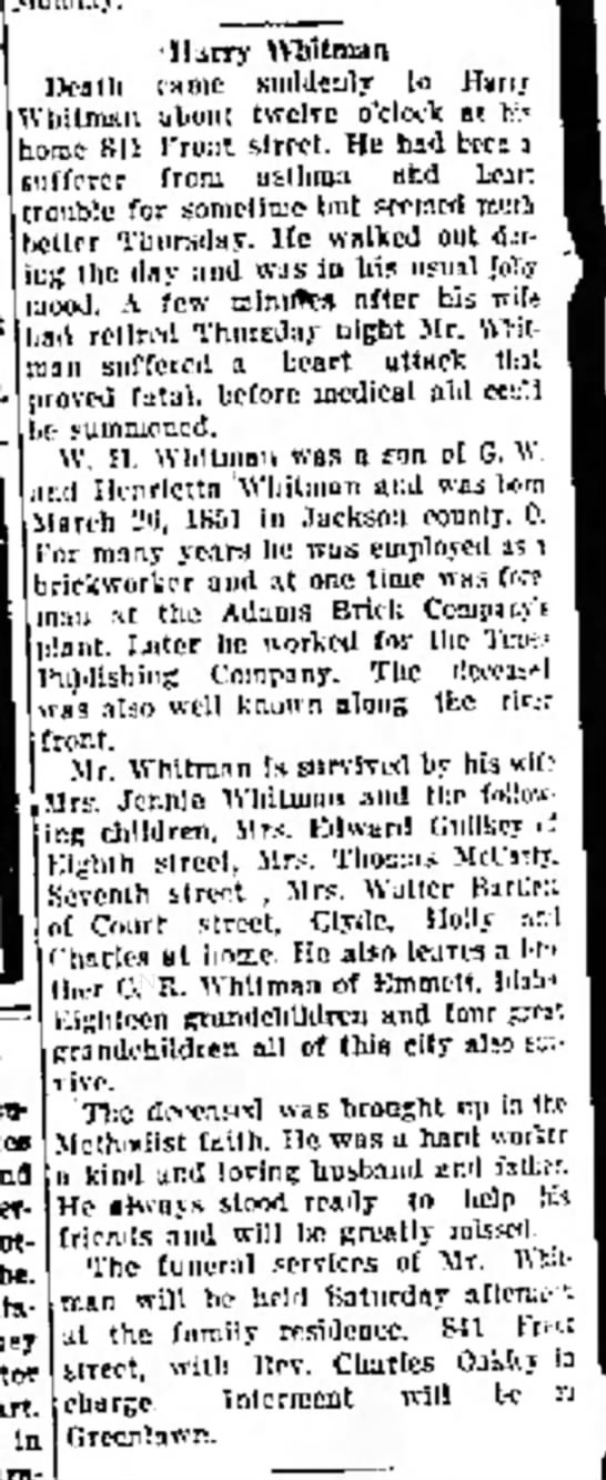 Harry Whitman obit As published in the May 16, 1919 edition of the Portsmouth Daily Times. - ndver- sbould t» Imlta they part Is In...