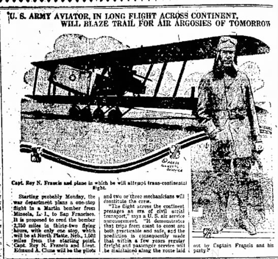 """Francis_flight1919 - B* of the was and mcni- IT ears """" fib ABMY..."""