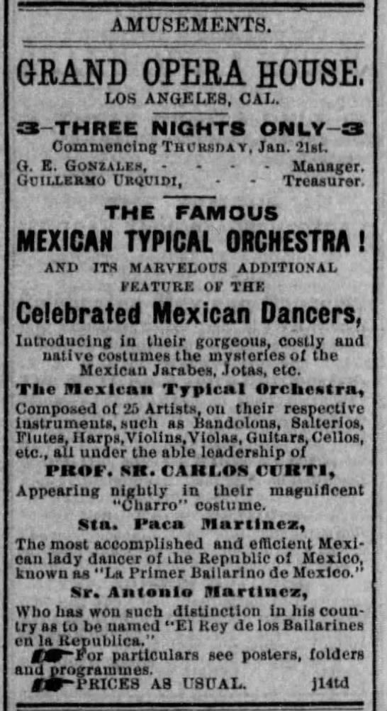 1886 Los Angeles, Mexican Typical Orchestra -