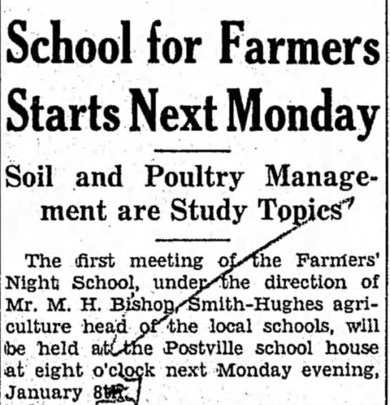 Farmers Go to Night School to Learn About Soil and Poultry -