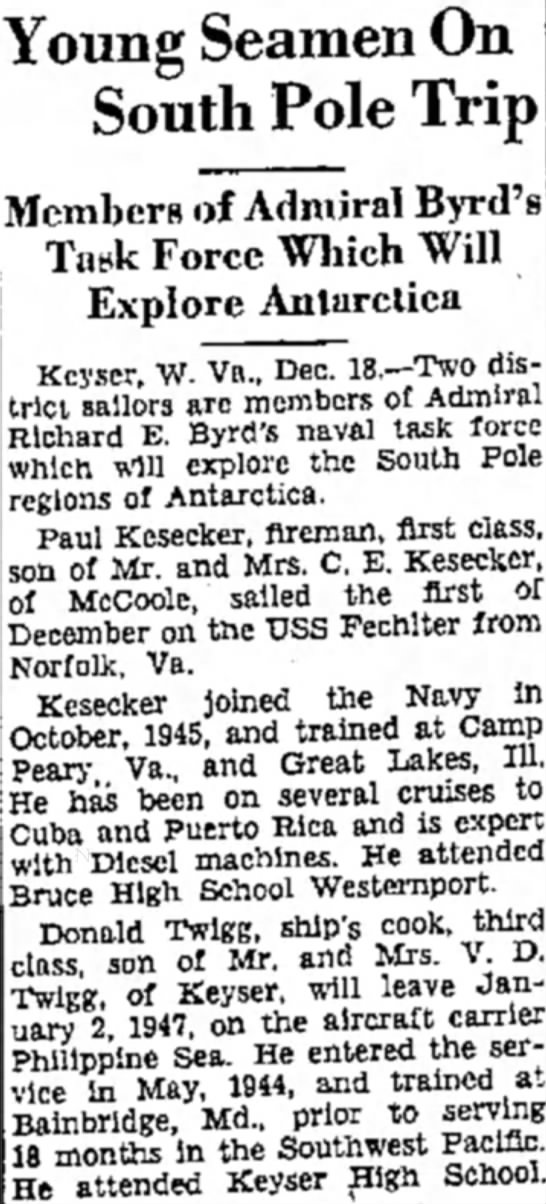 Paul Kesecker Navy news -