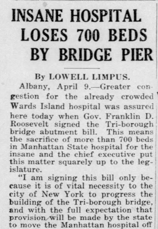 Insane Hospital Loses 700 Beds by Bridge Pier -