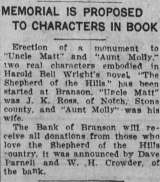 1924, Donations for the Ross Memorial accepted at Bank of Branson, PArnell, Crowder -