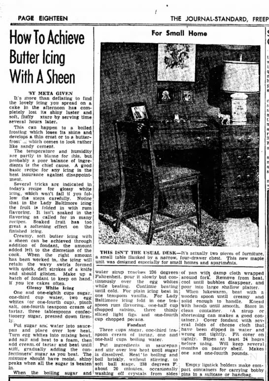 1949-01 (Jan) 6 FreeportJournalStandardIllinois How to Achieve Butter Icing with a Sheen -
