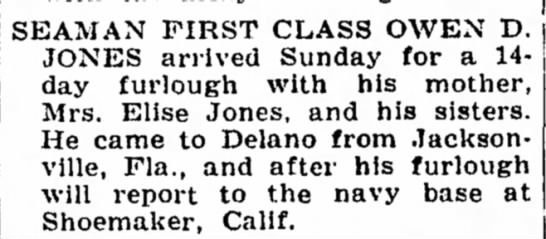 Mention of Shoemaker, Calif., June 1944 -