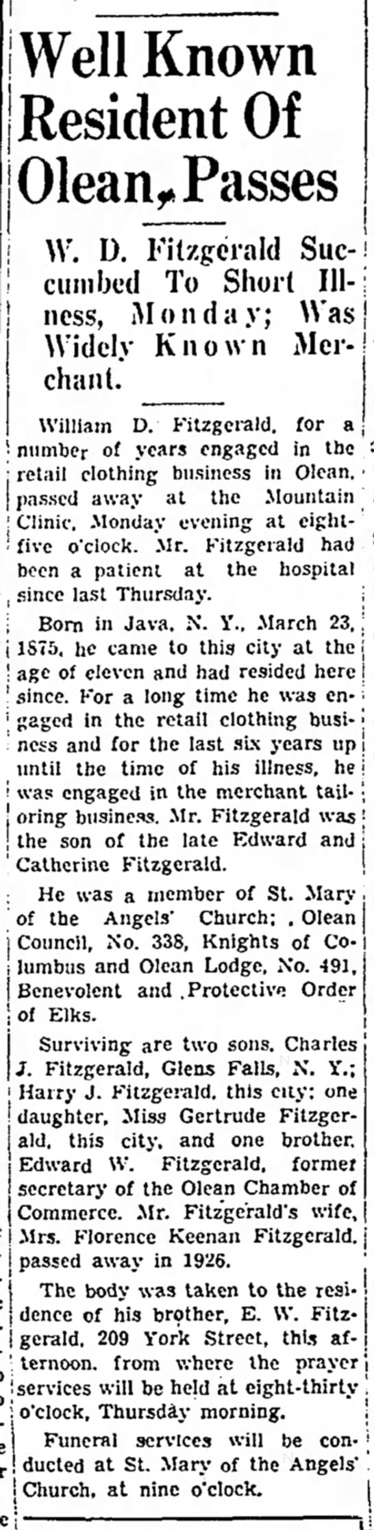 Times herald, Olean, New york, 10 March 1936, page 2, column 3. -