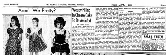 1949-01 (Jan) 13 FreeportJournalStandardIllinois Weepy Filling in Cheese Cake to be Avoided -