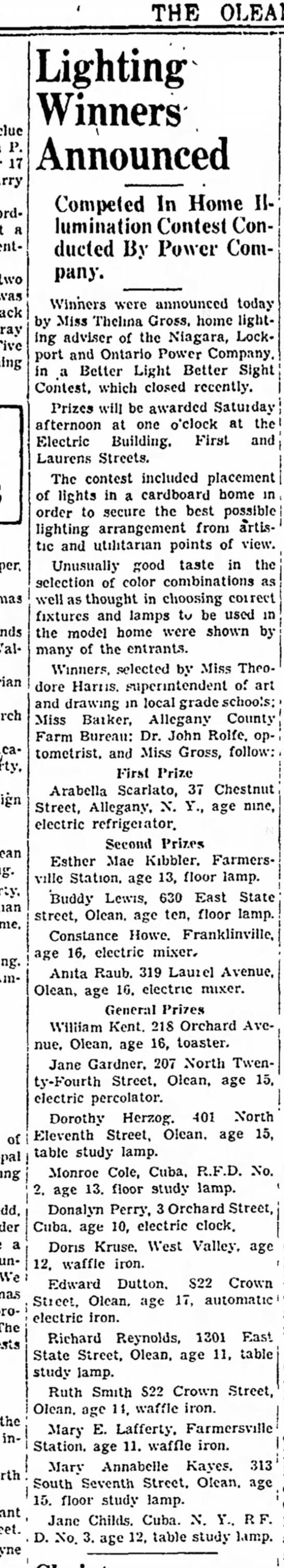 Mom's #1 Science 19 Dec 1935 - OLEAN TIMES-HERALD. as P. Hayes, froin ,lng J...