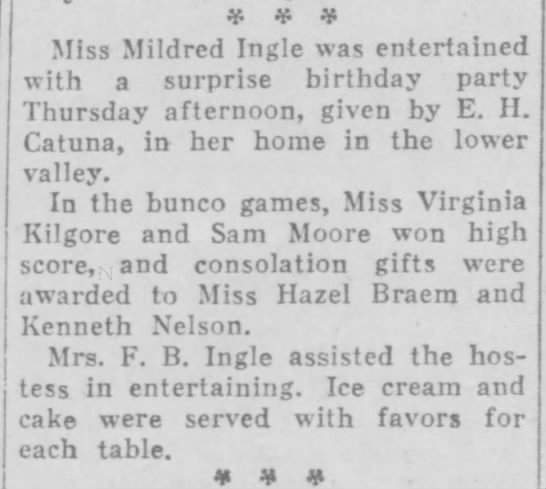 1929-08-17-12 Hazel Braem - ¥ * ¥ Miss Mildred Ingle was entertained with a...