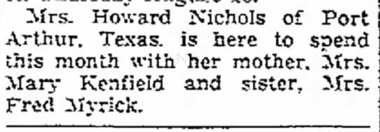 Mrs. Howard Nichols visits her mother -