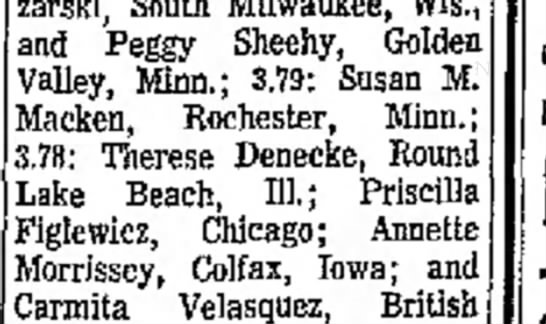 Dean's List 1974 - zarski, South Milwaukee, Wis. and Peggy Sheehy,...