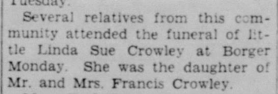 1940 Linda Sue Crowley daughter of Francis Crowley -