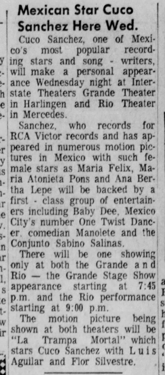 Rio Theater Cuco Sanchez - Valley Morning Star Nov 15 1964 -