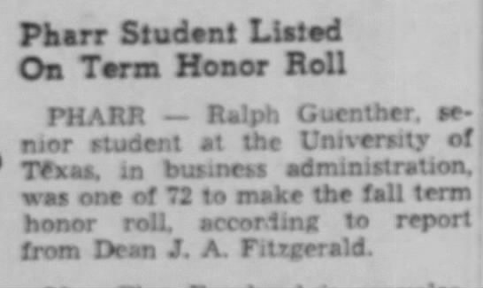 Feb 28, 1943 Ralph on Honor roll at UT -