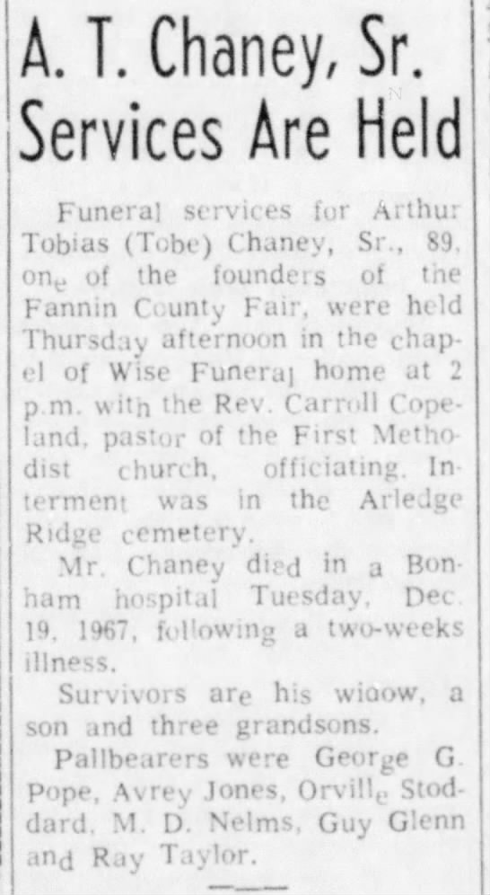 A. T. Chaney obit - T. Chaney, Sr. Services Are Held Funeral...