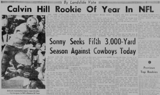 Calvin Hill Rookie of Year In NFL -