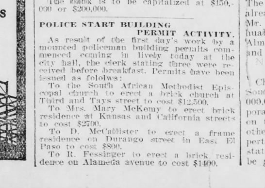Mary McKemy-building permit for Kansas St. house. -