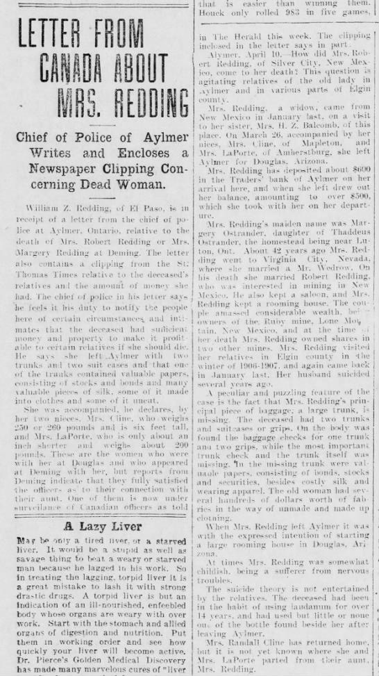 Mrs Robert Redding murder 1908 -