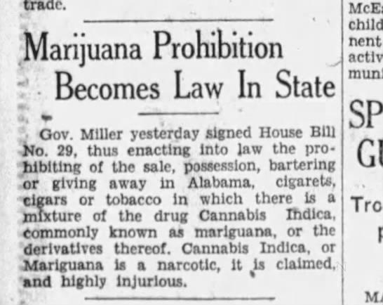 1931 Alabama marijuana prohibition becomes law -
