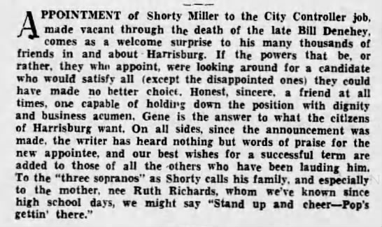 - APPOINTMENT of Shorty Miller to the City...