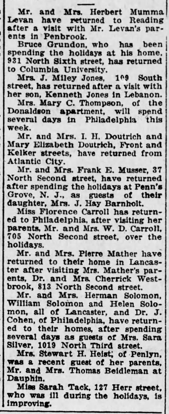 1923 Mary C Thompson off to Phila for several days -