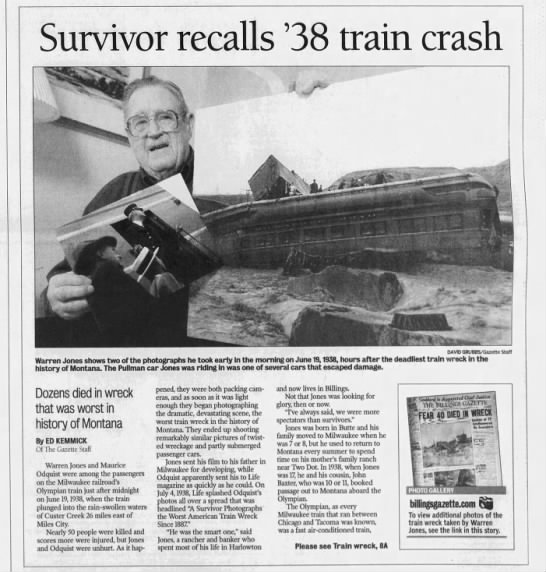Survivor Account of 1938 Train Wreck - Survivor recalls 38 train crash DAVID...