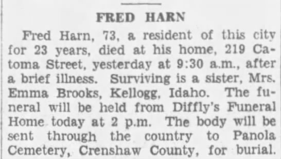 Obituary for FRED HARN (Aged 73) -