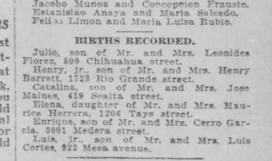 Henry Fred birth recorded -