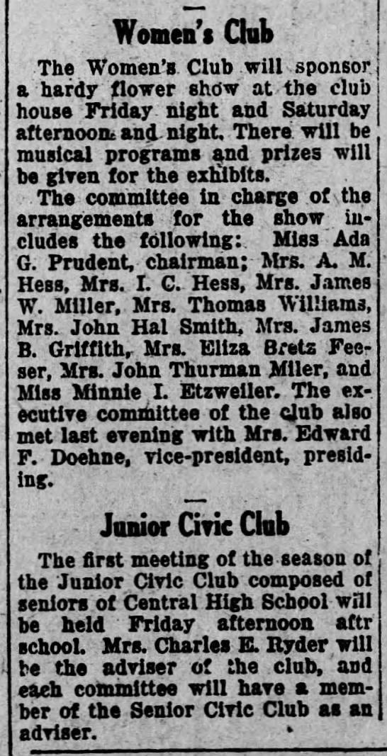 1925 Eliza Bretz Feeser on comm of Women's Club for flower show -
