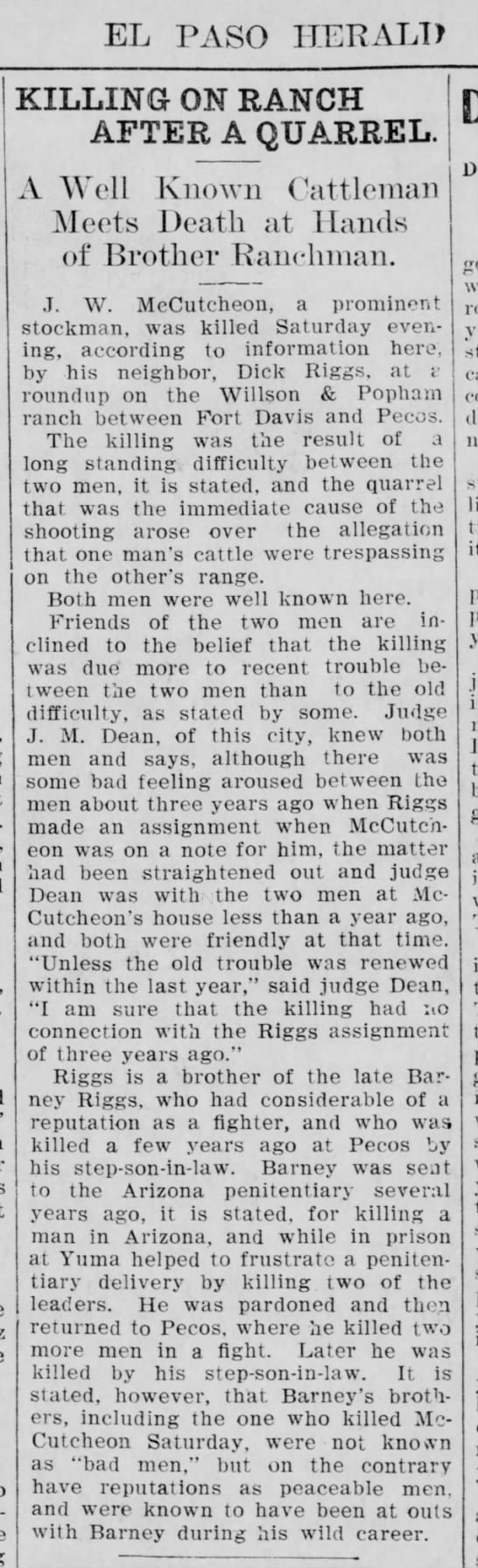 J. W. McCutcheon death -