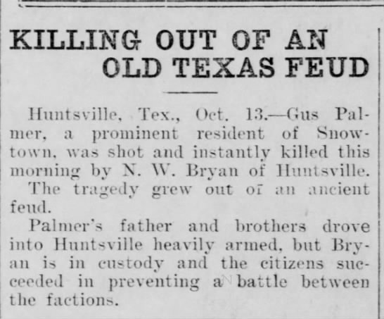 - KILLING OUT OF AN OLD TEXAS FEUD Oct. 1.1.-...