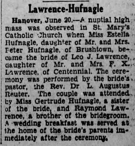 Lawrence-Hufnagle Wedding 20 Jun 1928 -