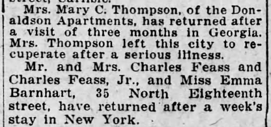 1923 Mary C Thompson returns to Hbg after recuperating in Georgia from serious illness -