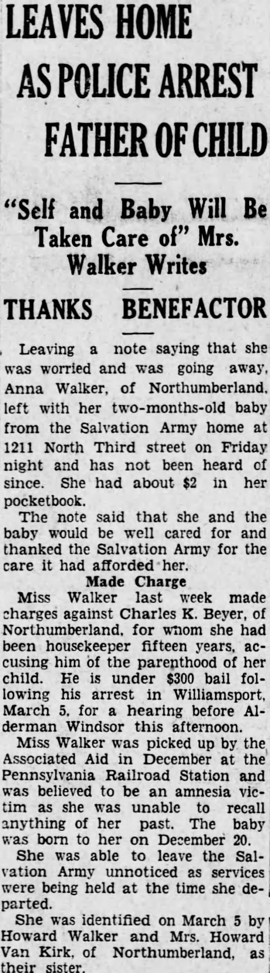 Anna M Walker regains memory, father of baby arrested 1928 -